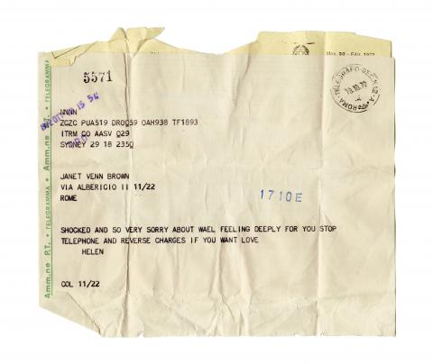 Material for a film (detail) (Telegram: 18/10/1972).  2004 – Multimedia installation, 3 sound pieces, 1 video, texts, photos, archival material Devised in part with the support of La Biennale di Venezia © Emily Jacir