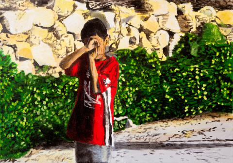 David Reeb, Boy with a Camera, acrylic on canvas, 2009