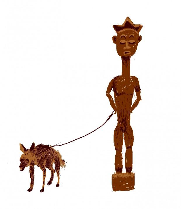 Pieter Hugo, From the series The Hyena and other Men,  Mallam Galadima Ahmadu with Jamis, Nigeria, 2005