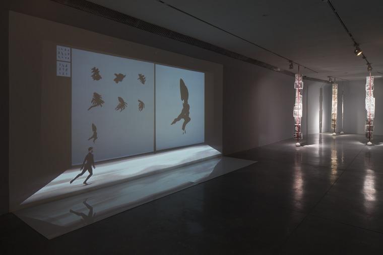 Bibliology.  Installation view.  Marie Chouinard (video), Noga Inbar. Petach Tikva Museum of Art