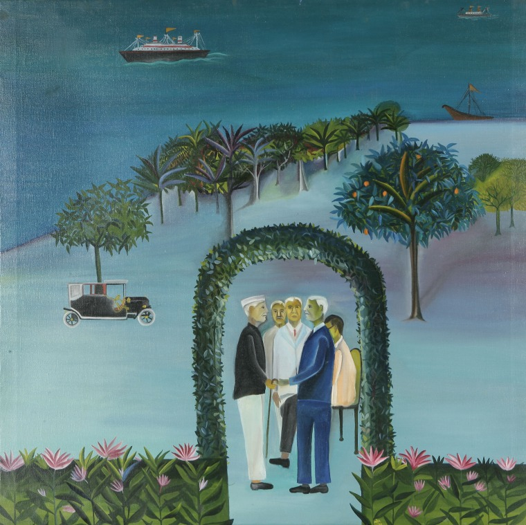 Bhupen Khakhar, Man Leaving (Going Abroad), 1970 Courtesy of Tapi Collection, India