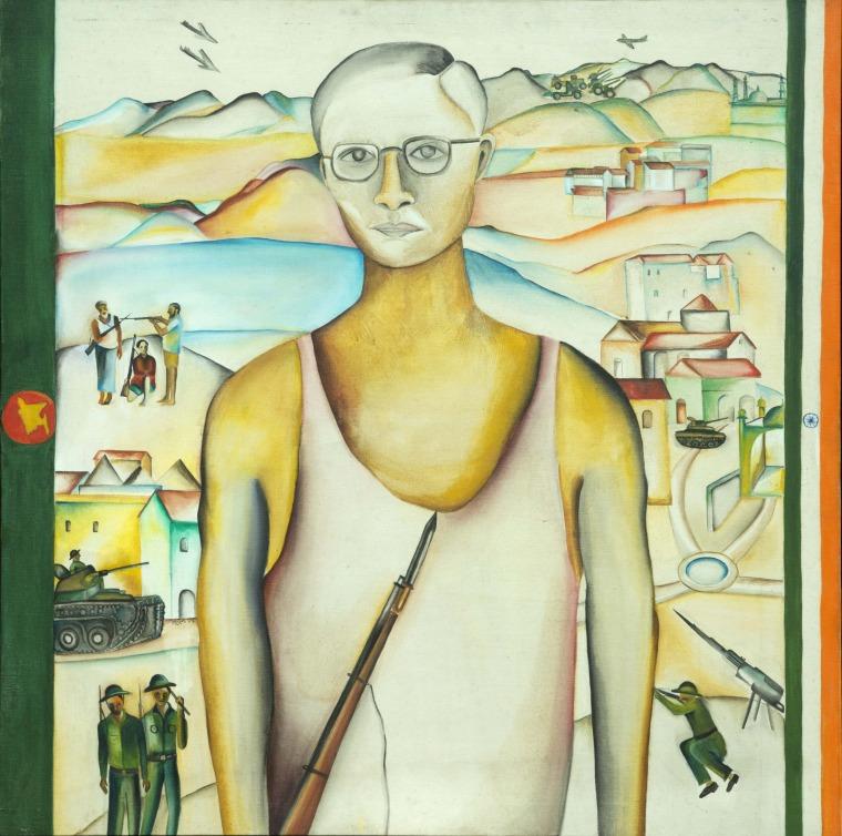 Bhupen Khakhar, Mukhti Bahini Soldier, 1972 Oil paint on canvas. Collection Devinder and Kanwaldeep Sahney. Photo: Pablo Bartholomew