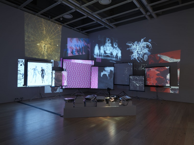"Installation view of ""Dreamlands: Immersive Cinema and Art, 1905-2016"" (Whitney Museum of American Art, New York, October 28, 2016-February 5, 2017). Stan VanDerBeek, Movie Mural, (1968) E.2016.1545. Photography by Ronald Amstutz."
