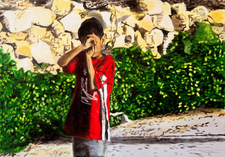 David Reed, Boy with a camera, acrylic on canvas, 2009