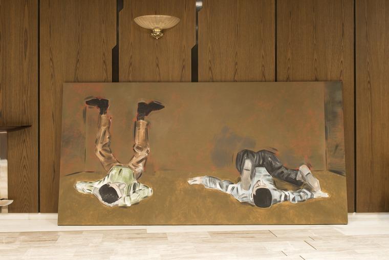אפוסטולוס גיאורגיו, ללא כותרת, 2013, אקריליק על בד מגרון, אולם הקונצרטים של אתונה, דוקומנטה 14 צילום: אנגלוס גיאוטופולוס